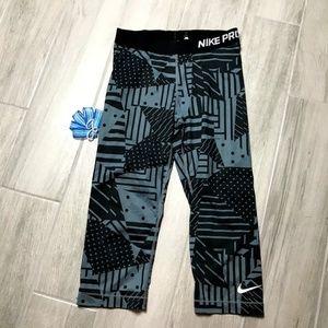 Nike Pro Crop Leggins Gray Black Geometric Print M